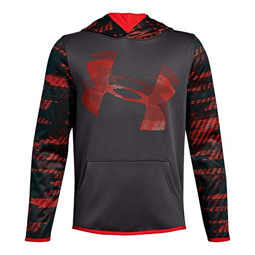 Under Armour Boys' Armour Fleece Sleeve Hoodie, Charcoal (019)/Radio Red, Youth - Under Sweatshirt Boys Armour
