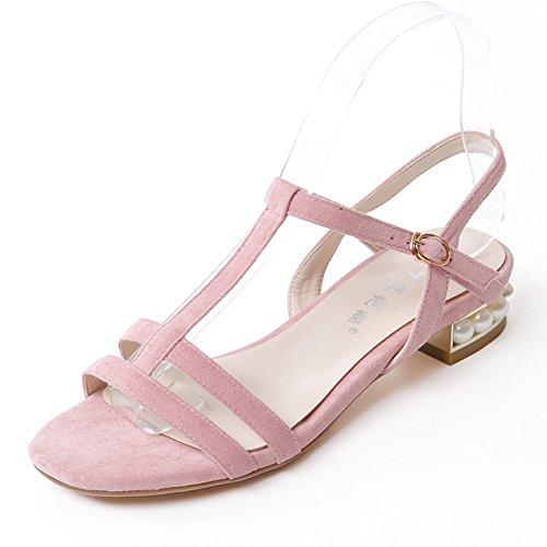Versión Coreana De Los Zapatos De Las Mujeres De Fondo Plano/Una Palabra Hebilla, Tacón Grande, Sandalias De Tacón bajo. A