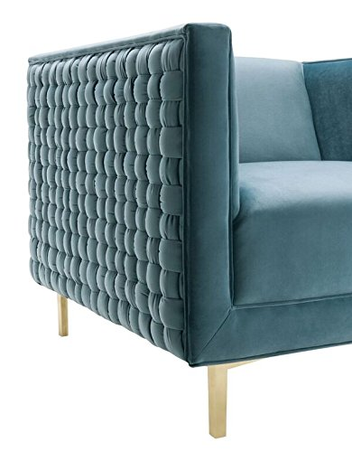 """TOV Furniture The Sal Collection Modern Style Woven Velvet Upholstered Living Room Accent Chair, Sea Blue - Exceptionally Sized: This Chair In The Sal Collection Measures 34.7""""W x 33.5""""D x 28.8""""H and Weighs 55.2lbs. To Perfectly Fit Any Living Room, Den, or Any Desired Area In Your Home. Some Assembly Is Required With This Chair. Built With Quality and Comfort In Mind: Each Sal Chair Is Made With You In Mind, Built To Last With A Soft and Luxurious Velvet Upholstery and Strong and Sturdy Stainless Steel Legs That Serve To Make This Chair A Lasting Fixture In Your Home For Years To Come. Pair This Chair With The Sal Bench To Compete The Collection. Designed With A Modern Sensibility: This Chair In The Sal Collection Includes A Classically Colored Velvet Upholstery That Is Complimented By A Woven Pattern On The Outsides and Shapely Gold Legs That Ensure This Chair Will Leave An Impression. - living-room-furniture, living-room, accent-chairs - 41AMlVfWtjL -"""