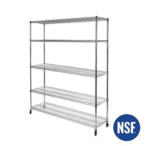 - Seville Classics UltraDurable Commercial-Grade 5-Tier NSF-Certified Steel Wire Shelving with Wheels, 60