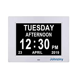Johnziny Digital Calendar Day Clock- 8 Alarms Dementia Alzheimer Memory Loss Vision Impaired Battery Backup Alarm Clock for Seniors Elderly with Digital Photo Frame Function