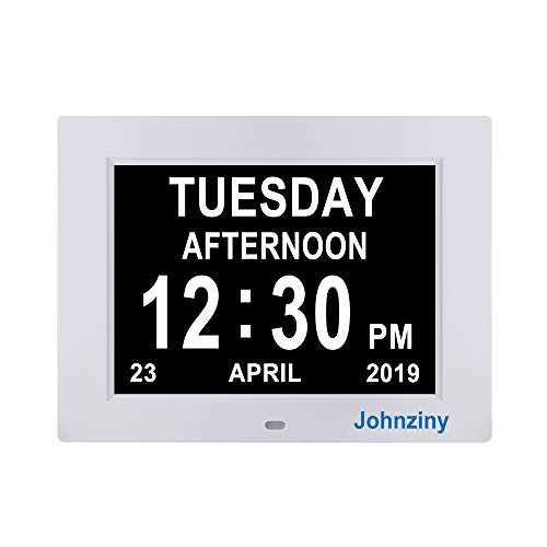 Johnziny Digital Calendar Day Clock- 8 Alarms Dementia Alzheimer Memory Loss Vision Impaired Battery Backup Alarm Clock for Seniors Elderly with Play Video Photo - Clock Felt Square