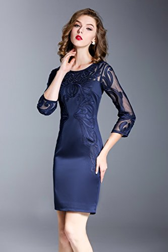 Womens Party 3 Blue Fit Slim Dresses Scoop Sleeve Evening Gown 4 Neck cotyledon 4wB1qpdq