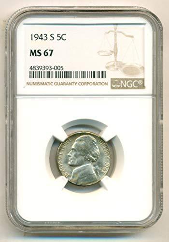 1943 S Jefferson Silver Nickel MS67 NGC (Nickel Mint Ngc Jefferson)