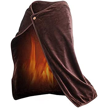 GENERAL ARMOR USB Electric Heated Blanket Throw with Heating Pad for Car Office Home - Portable Fleece Heated Wrap Good for Travel (100 x 70 cm) - Machine Washable Cover - Soft Cozy Comfort (Coffee)