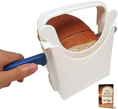 Eon Concepts Bread Slicer Guide For Homemade Bread With Mini Bread Recipe E-Book | Loaf Cutter Machine - Foldable Adjustable & Customizable to 5 Thickness | Bagel/Sandwich/Toast Slicer |