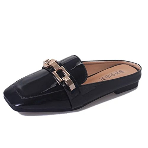 Black Slippers Shallow Pointed Women Casual Toe Fashion Bowknot Lady pit4tk Flat Mules Shoes Slides FwqWwZO1