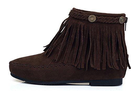 YE Damen Flache Wildleder Stiefeletten mit Reißverschluss und Fransen  Bequeme Short Ankle Boots Herbst Schuhe Dunkelbraun ... a9a668b13d