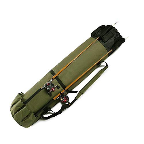 Yakun Fishing Rod Case Large Fishing Poles and Reel Organizer Portable Travel Carry Case Bag Durable Folding Fishing Gear and Rod Holders for Rods Storage (Army Green)
