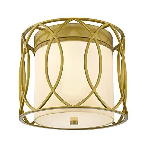 Flush Mount Ceiling Light, LMS 2-Light Mid Century Modern Art Deco Lighting Fixture Antique Bronze Oil Brass Finish for Living Room Bedroom (9.6
