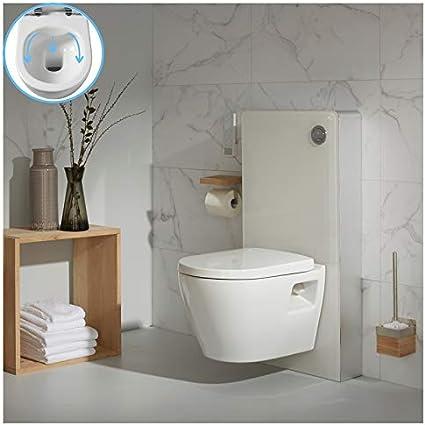 Planetebain Pack WC suspendida en Cristal Blanco con cubeta sin Brida: Amazon.es: Hogar