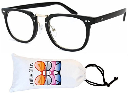 E21-vp Style Vault Wayfarer Clear Lens Glasses Eyeglasses (B3186F Black/gold-clear, - New Of Style Eyeglasses