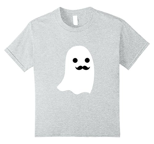 Kids Mustache Ghost Funny Halloween T-shirt 8 Heather Grey