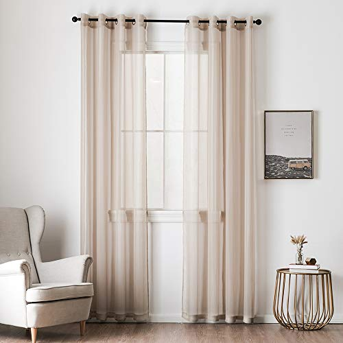 MIULEE 2 Panels Solid Color Beige Sheer Curtains Elegant Grommet Window Voile Panels/Drapes/Treatment for Bedroom Living Room (54X96 Inch)