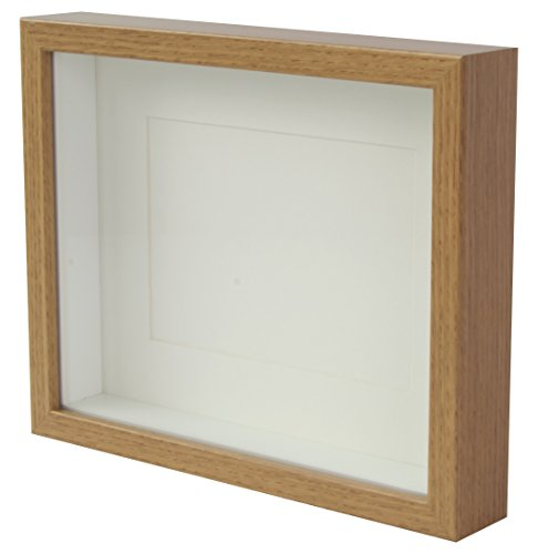 - BD ART Oak Shadow Box 3D Picture Frame 8x10 (20 x 25 x 4.7 cm) with Mount 5x7 inch, Glass Front