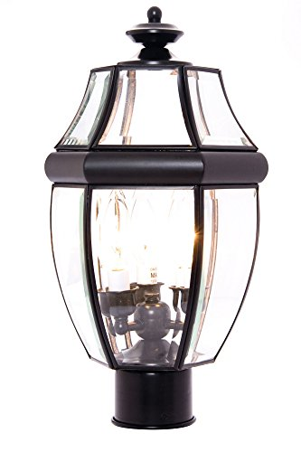 Maxim 6097CLBK South Park 3-Light Outdoor Pole/Post Lantern, Black Finish, Clear Glass, CA Incandescent Incandescent Bulb , 60W Max., Dry Safety Rating, Standard Dimmable, Fabric Shade Material, 2016 Rated Lumens