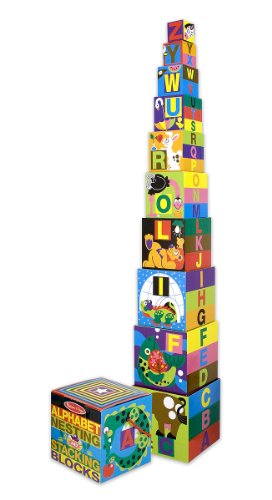 Melissa & Doug Deluxe 10-Piece Alphabet Nesting and Stacking Blocks (UC)