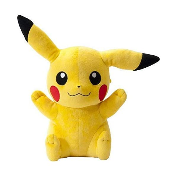 VIRSAA Cartoon Character Cute Pokemon Pokeball Pikachu Plush Stuffed Soft Toys Gift for Babies Kids Girls Yellow(25 cm)