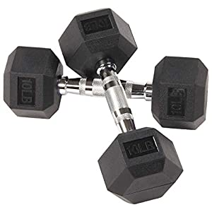 Well-Being-Matters 41AMoDiOhyL._SS300_ BalanceFrom Rubber Encased Hex Dumbbell in Pairs, Singles or Set with Rack