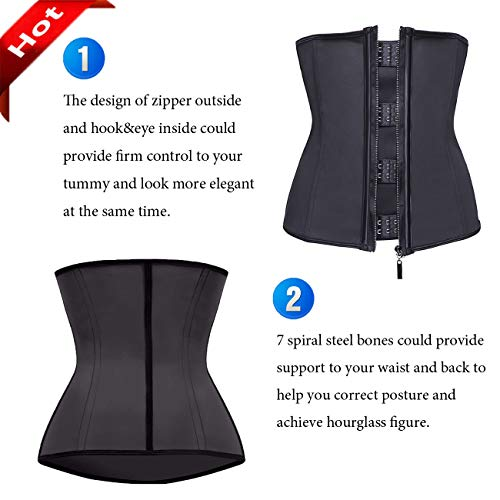 5346da76aa MISS MOLY Latex Waist Trainer Cincher Zip Hook Tummy Control Shapewear  Women Steel Boned Corset Plus Size