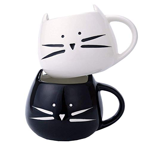 2 Pack Ilyever Funny Cute Cat Coffee Mugs for Crazy Cat Lovers Christmas Gift Cat Ceramic Cups for Coffee Tea Milk, Black and White ()