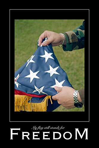 Freedom, a 20x30-inch inspirational color poster photograph of the American flag being folded in t (Folded Promo Poster)