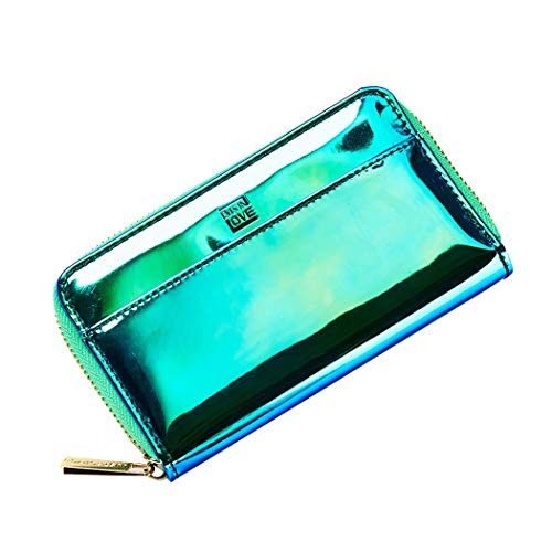 099bd7c7bd7 Galleon - Glitter Wallet For Teengirls Zipper Around Purse Card Holder  Holographic Leather Small Clutch Hold Cellphone Under 5.2 Inch Coin Green