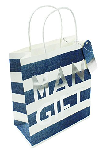 Mens Large Striped Gift Bag Carrier Birthday Wrapping Paper Present...