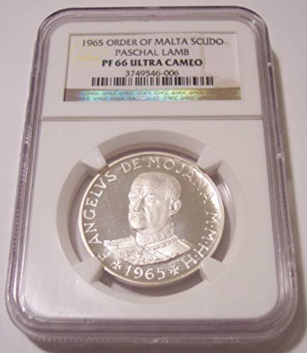 (1965 MT Order of Malta - Paschal Lamb Silver Scudo PF66 UC NGC)