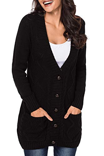 (Viottis Women's Cable Twist Open Front Cardigan Sweater Coat with Pockets Black XL)