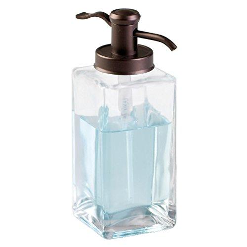 mDesign Decorative Square Glass Refillable Liquid Soap Dispenser Pump Bottle for Bathroom Vanity Countertop, Kitchen Sink - Holds Hand Soap, Dish Soap, Hand Sanitizer, Essential Oils - Clear/Bronze