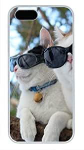 Protective PC Case Skin for iphone 5 White Fashion PC Case Back Cover Shell for iphone 5S with Sunglasses Dog