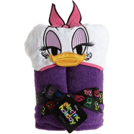 Disney Daisy Duck Hooded Bath Towel - Embroided Face with Bow - Daisy Duck Baby Shower