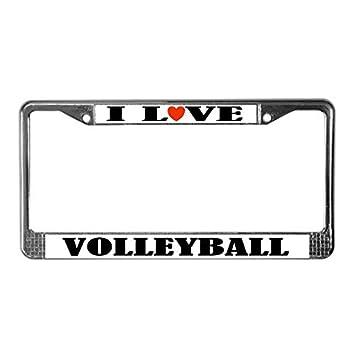 Amazon.com: Volleyball License Plate Frame (I Love )-Chrome License ...