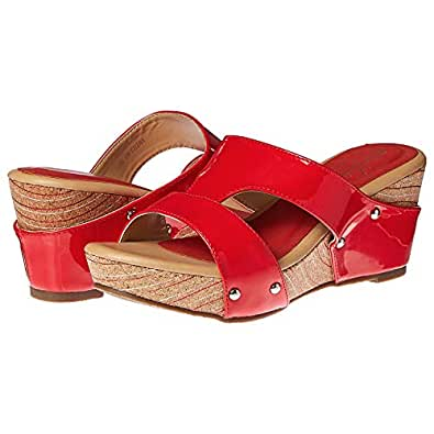 Michelle Morgan Heel Sandals for Women - Shiny Red