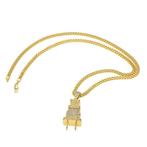 Personalized Necklace, Botrong Fully Lced Out Diamond Bling Power Plug Pendant Hip Hop Cuban Necklace Chain (Bone Plug Cross)