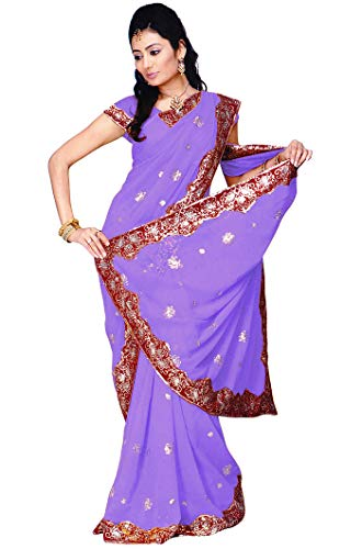 Indian Trendy Women's Bollywood Sequin Embroidered Sari Festival Saree Unstitched Blouse Piece Costume Boho Party Wear (Medium Purple)