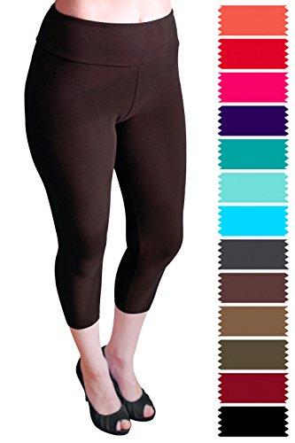 Capri Brown Apparel (Evfalia Extremely Soft Premium Quality Capri Leggings, Best Selling Pants For Women (Brown Yoga Waist))