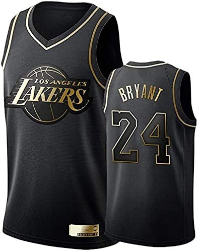 RNGUP Lakers Basketball Jersey Fan Collection Breathable Sleeveless Vest Commemorative Black Gold Edition Black Gold-S
