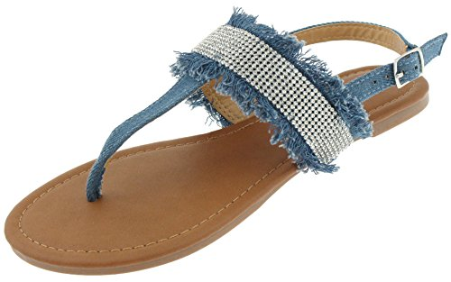 Capelli New York Ladies Sandals with Denim, Tassel and Rhinestone Detail Denim 8