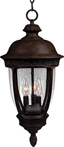 Maxim 3468CDSE Knob Hill Cast 3-Light Outdoor Hanging Lantern, Sienna Finish, Seedy Glass, CA Incandescent Incandescent Bulb , 60W Max., Damp Safety Rating, Standard Dimmable, Frosted Glass Shade Material, Rated Lumens