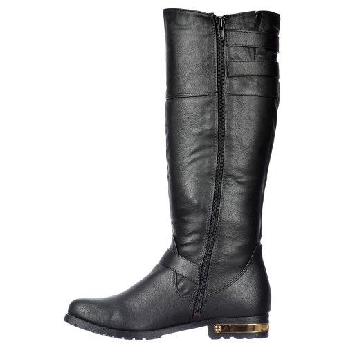 Buckle Onlineshoe Black Straps Dual Gold With Zip Ladies amp; Boots Feature Heel Biker Uxq7wpUgYr