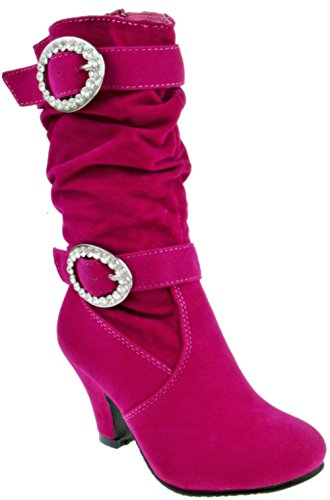 Girls High Heel Boots (EQ 42K Little Girls Buckle Rhinestone Knee High Dress Boots Fuchsia 1)