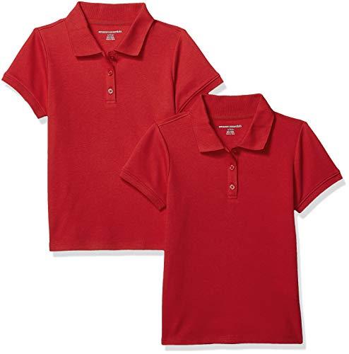 Amazon Essentials Girls' Short-Sleeve Uniform Interlock Polo, 2-Pack Red, Large ()