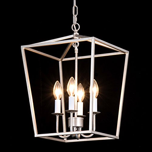 Simon Fashion Lantern Pendant Lamp Industrial Retro Iron Chandelier Fixture with 4 Candle Lights for Traditional Dining Room Bar Cafe L12.6