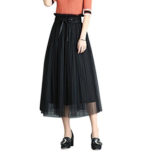 Jupe Casual Longue Rtro Plisse Jupe Jupe Femme Longue Style Haute Bohme Uni Longue Noir Femme Taille Jupe CHENYANG Eq1OnBwFO