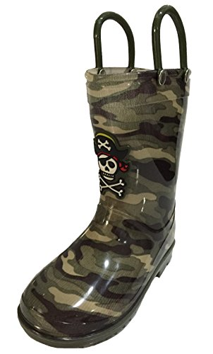 Toddler Pirate Boots (Siya Toddler and Youth Boys Camouflage Pirate Skull Design Rain Boot Snow Boot w/ Hooks (8.5))