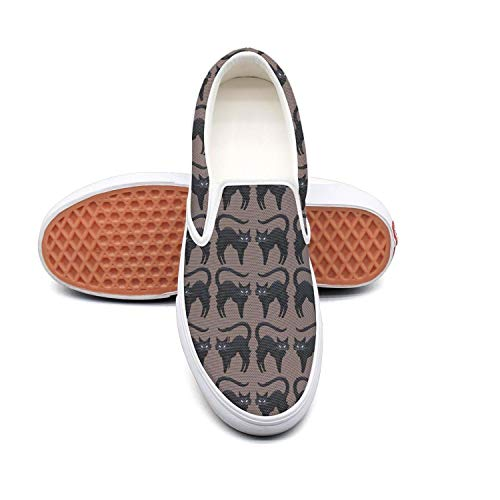 Vosda FUUNY Cute Cats Lover Halloween Black Classic Women Canvas Slip-Ons Loafer Shoes Sneaker ()