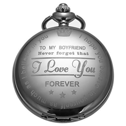 Pocket Watch Men Personalized Black Chain SIBOSUN Quartz Gift Girlfriend to Boyfriend Engraved Present