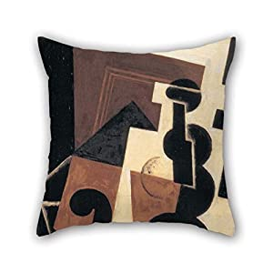 18 X 18 Inches / 45 By 45 Cm Oil Painting Juan Gris - Glass And Water Bottle Throw Cushion Covers Double Sides Is Fit For Bedroom Pub Car Seat Bedroom Drawing Room Her